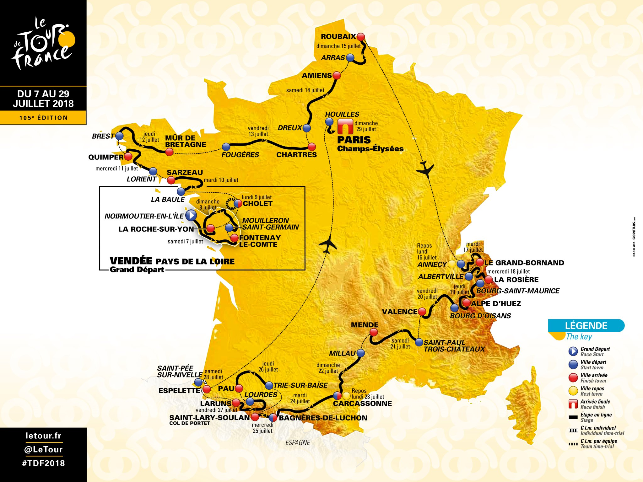 Here is the official route of the tour de france 2018